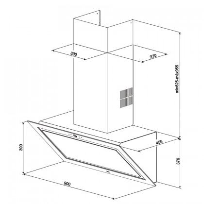 Teka DLV 988 BK 90cm Vertical Perimeter Chimney Hood