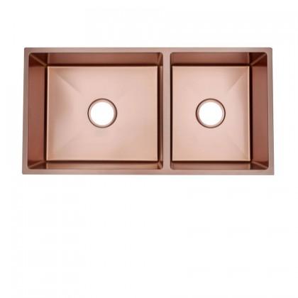 HUN HKS 510-NANO ROSE GOLD Undermount Double Bowl Nanotech Kitchen Sink