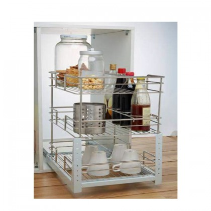 3 Layer Door Mounted Pull-Out Basket (Stainless Steel)