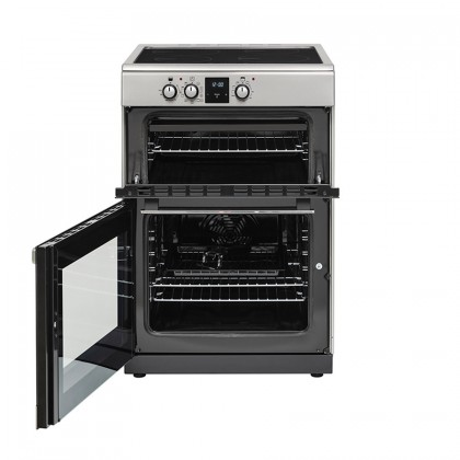 Belling FSI608MFTc 60cm Freestanding Double Oven Multifunction Electric Range Cooker With Induction Hob - Stainless Steel 444444812