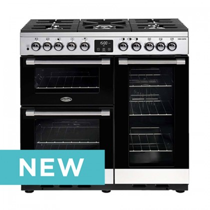 Belling 444410742 CookCentre Deluxe 90cm Dual Fuel Professional Range Cooker With Huge 195 Litres Oven Combined Capacity - Stainless Steel