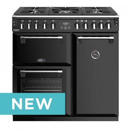 Belling 444410740 Richmond Deluxe 90cm Dual Fuel Professional Range Cooker With Huge 195 Litres Oven Combined Capacity - Black