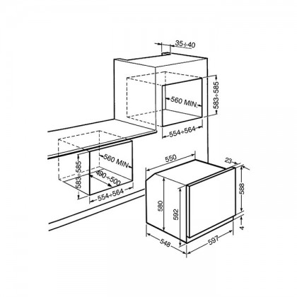 Smeg SFP6390XE 79L Pyrolytic Built-In Oven
