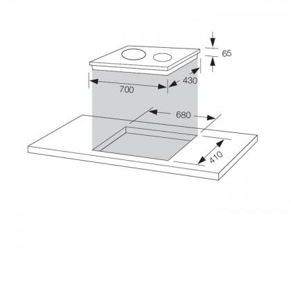 Fagor 2VFT-700DV 70cm 2-Cooking Zones Vitroceramic Hob
