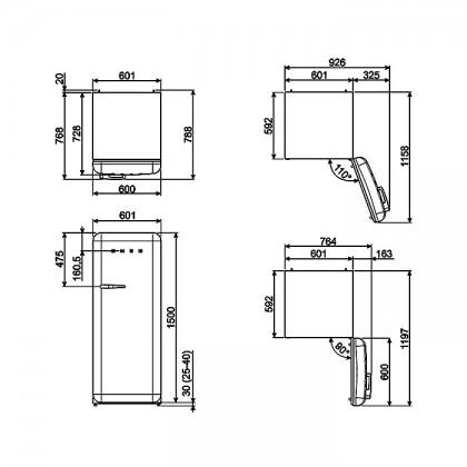 Smeg FAB28RYW3 YELLOW, 50's Retro Style Classic Refrigerator