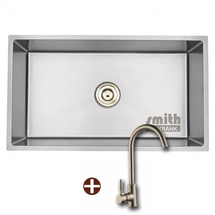 SMITH SUM804523-SR NANO SILVER Undermount Jumbo Bowl - Nanotech Stainless Steel Kitchen Sink