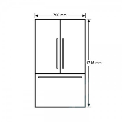 Fisher & Paykel RF522ADUSX 79cm 3-Door Refrigerator (519L Stainless Steel French Door Fridge-Freezer)