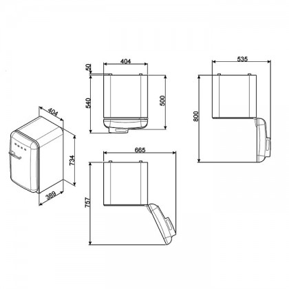 Smeg FAB5RPG3 PASTEL GREEN, 50's Retro Style Classic Refrigerator (Freestanding Mini Fridge)