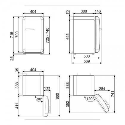 Smeg FAB5RPK3 PASTEL PINK, 50's Retro Style Classic Refrigerator (Freestanding Mini Fridge)
