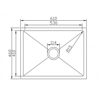 HCE KS 6145 Undermount 1-Bowl Stainless Steel Sink