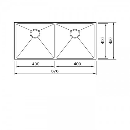 Smith SUM-874523 Undermount 2-Bowl Stainless Steel Sink