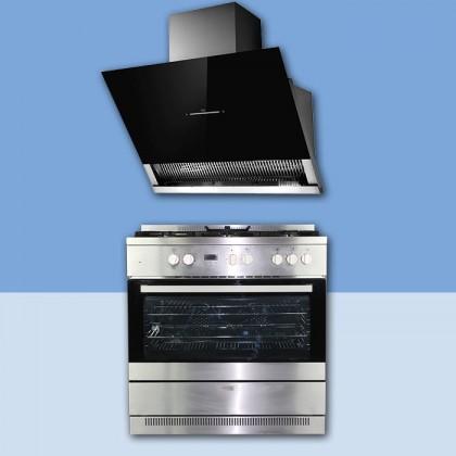 [Combo Deal] Lebensstil LKRC-9150G 5 Gas Burner Range Cooker + LKCHi-9303 Power Suction Cooking Hood 1,600M3/H