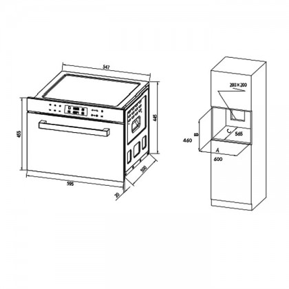 DE&E KA4505 45L Built-In Multifunction Compact Oven