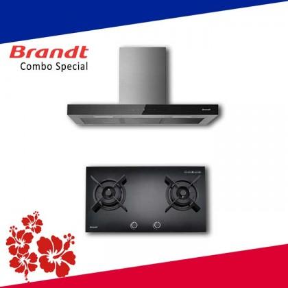 Brandt BHB6912BM Cooker Hood + TG1482B 2-Burner Gas Hob