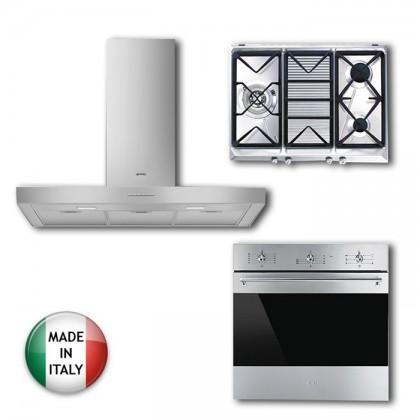[Smeg Combo] KBT900XE Cooker Hood + SRV573XG Gas Hob + SF6381X Oven