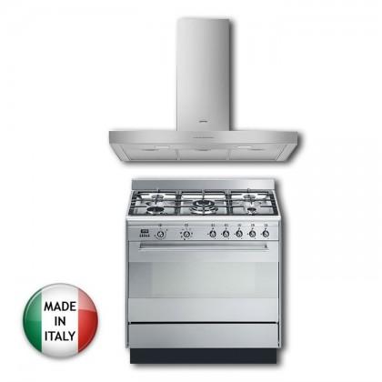 [Smeg Combo] KBT900XE Cooker Hood + SUK91MFX9 Professional Range Cooker