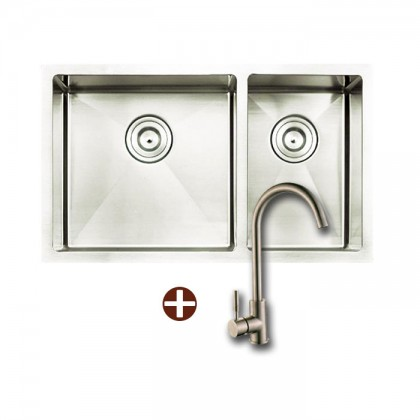 Smith SUM-874523-A Undermount 2-Bowl Stainless Steel Sink