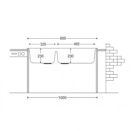 HCE GKS-9050-V 2-Bowl Granite Sink (Volcano)