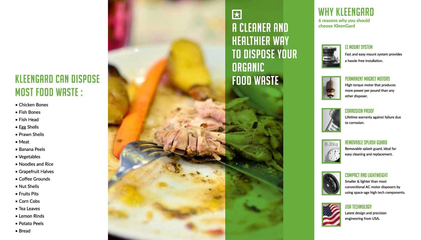 Kleengard food waste disposer features