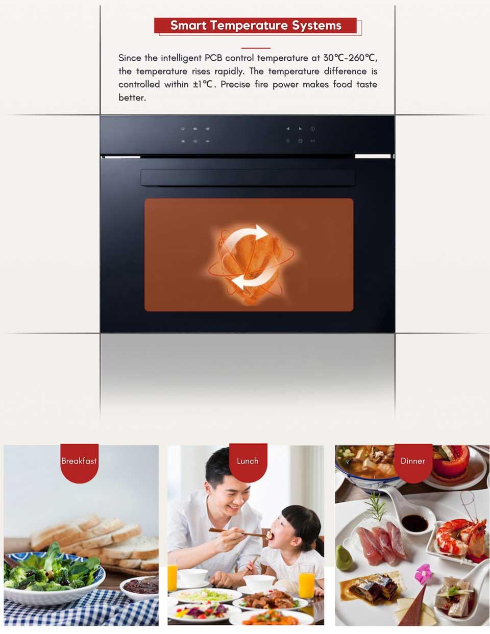 precise smart temperature system for even heating - DE&E ka4505 oven