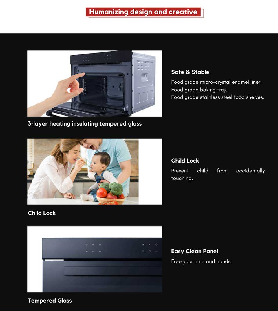 user friendly and childproof DE&E KA4505 built-in compact oven