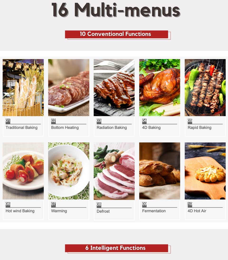 16 mult-menus cooking functions - DE&E KA4505 built-in oven