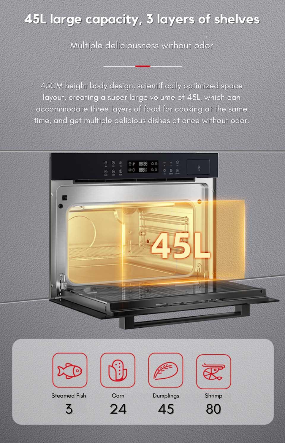 45cm series DE&E ZA4565A built-in steam oven with 45 liter capacity