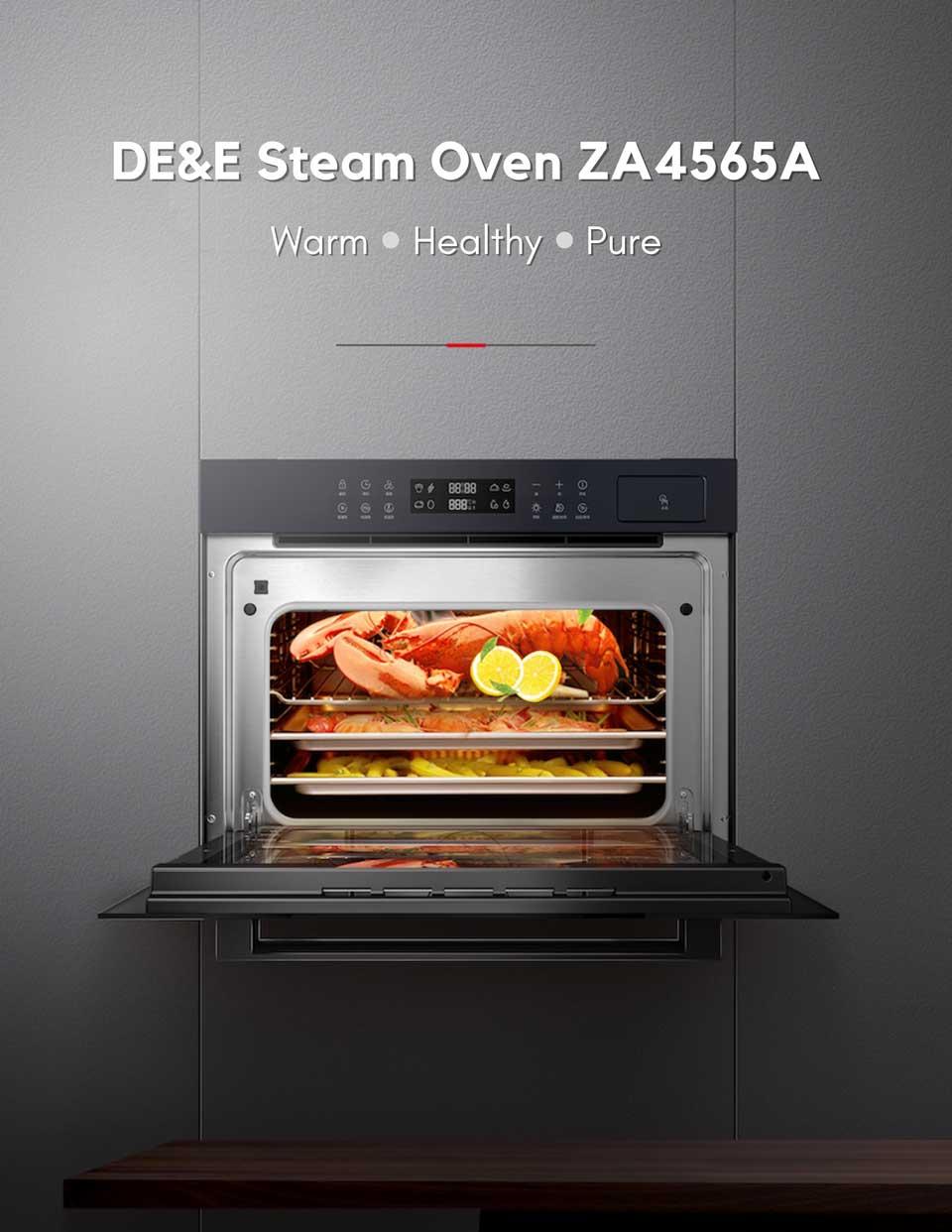 45 liter big capacity De&E ZA4565A built-in steam oven
