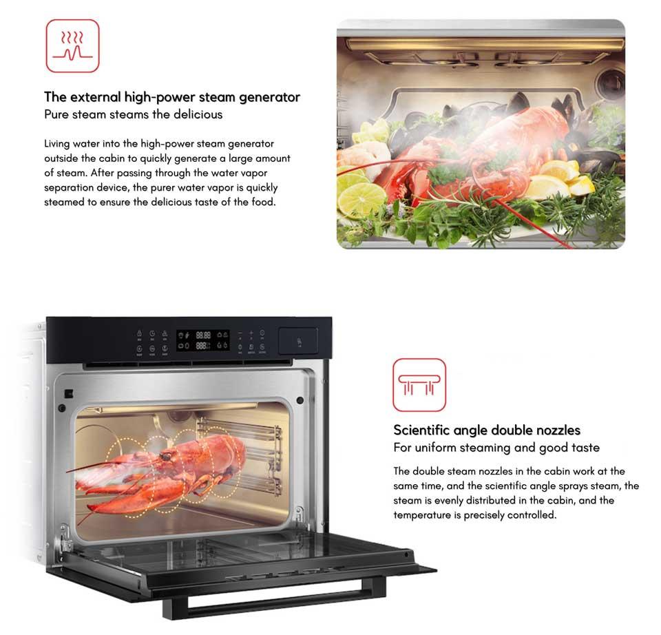 Steam oven with high pressure steaming with DE&E ZA4565A steam oven