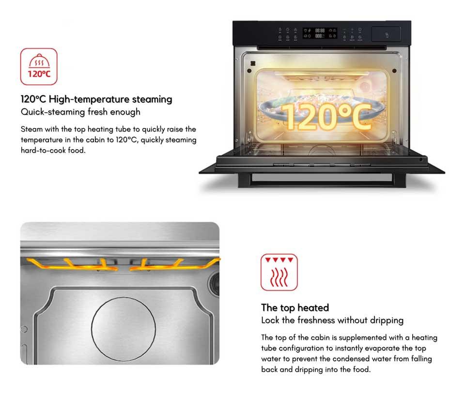 Precise temperature high temperature steaming - no water drops, DE&E ZA4565A steam oven