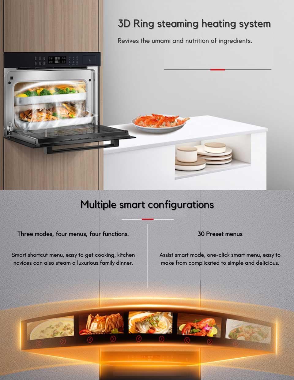 Smart preset menus cooking function - DE&E ZA4565A built-in steam oven