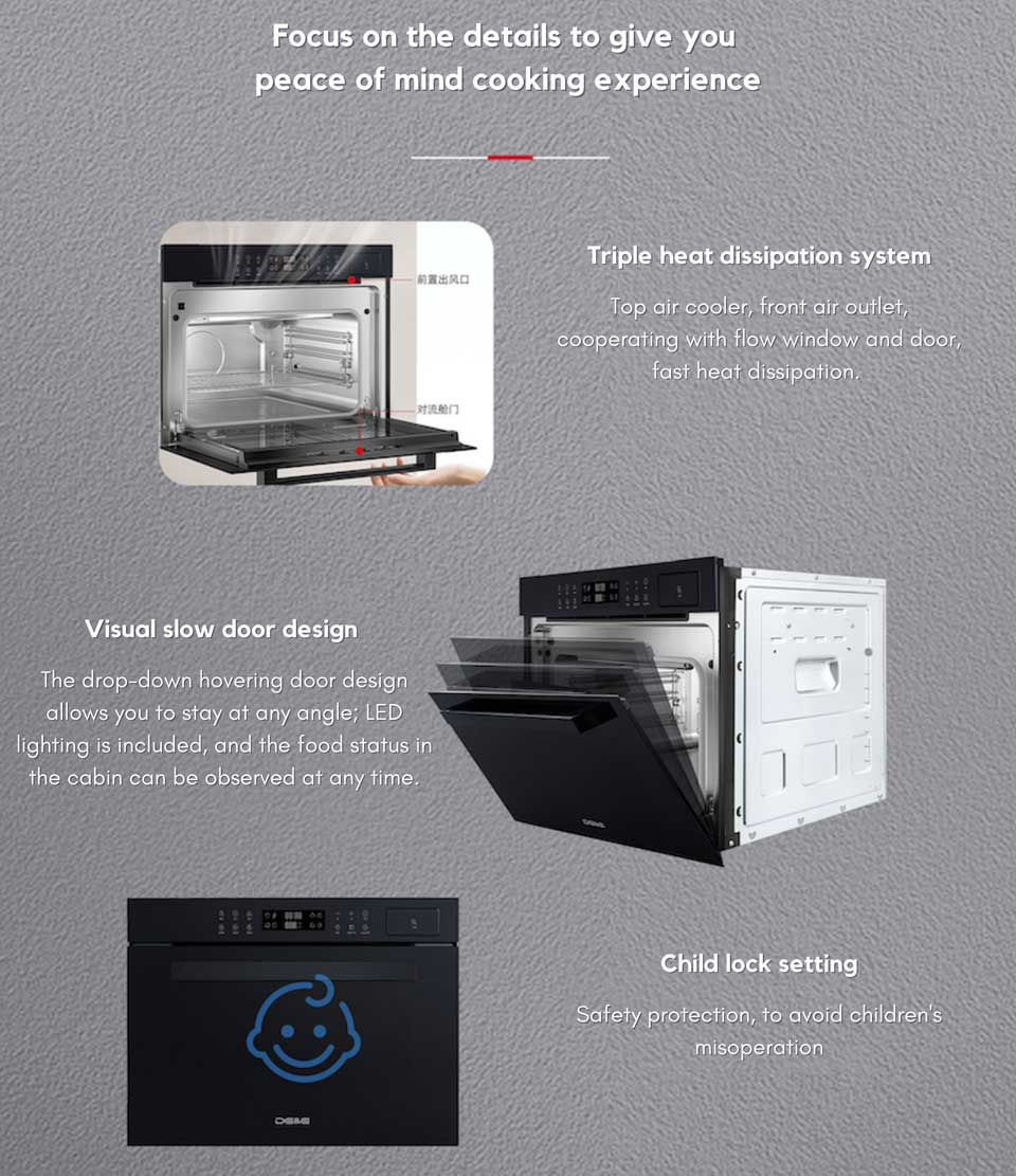 User friendly and childproof system with DE&E ZA4565A built-in compact steam oven