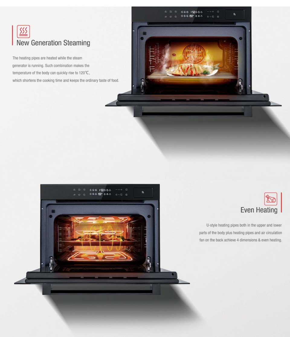 DE&E ZK4585 4D even heating steam grill built-in combination oven