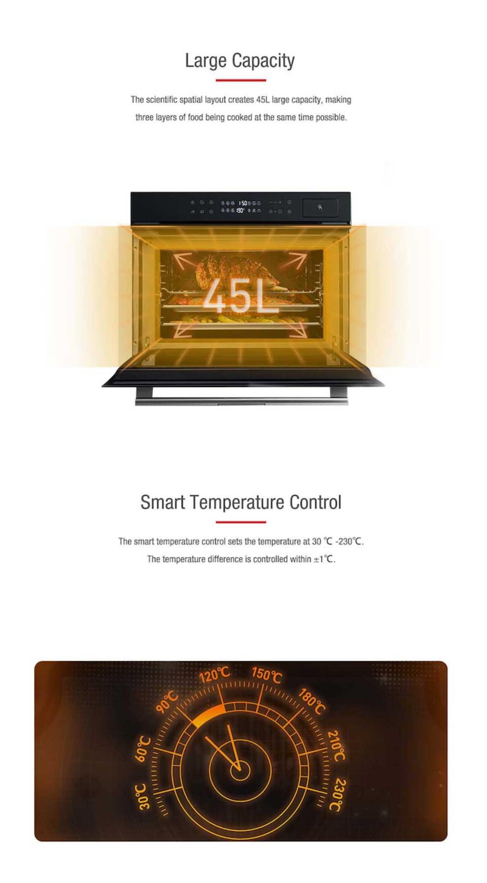 45cm series DE&E ZK4585 45 liters big capacity smart temperature combi steam grill oven